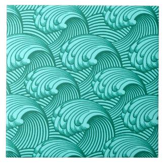 Vintage Japanese Waves, Turquoise and Aqua Large Square Tile