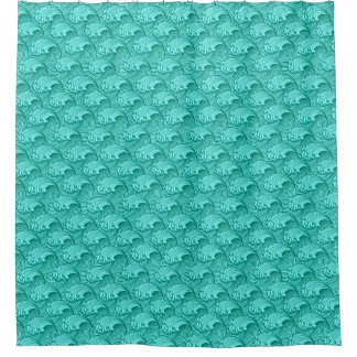 Vintage Japanese Waves, Turquoise and Aqua Shower Curtain
