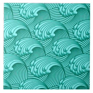 Vintage Japanese Waves, Turquoise and Aqua Tile