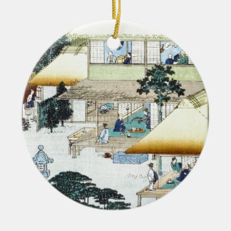 Vintage Japanese Winter Woodblock Art Ukiyo-e Christmas Ornament