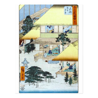 Vintage Japanese Winter Woodblock Art Ukiyo-e Postcard