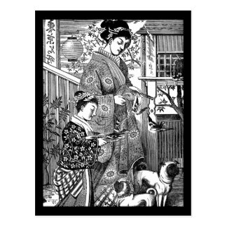 Vintage Japanese Woman with Pugs Postcard