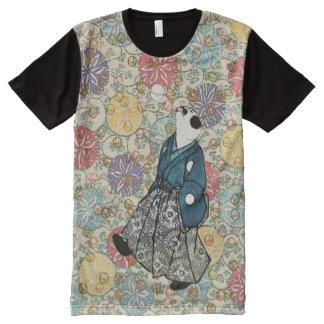 Vintage Japanese Woodblock Paper Print Cat All-Over Print T-Shirt
