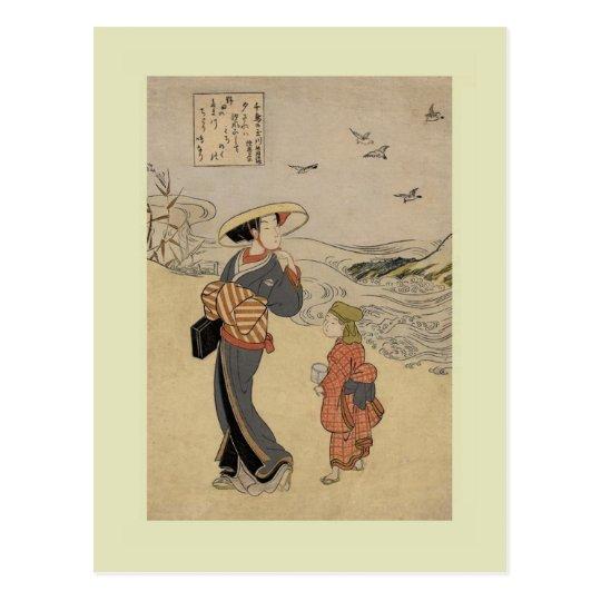 Vintage Japanese woodblock Postcard