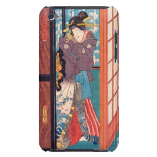 Vintage Japanese Woodblock Woman at Door Barely There iPod Covers