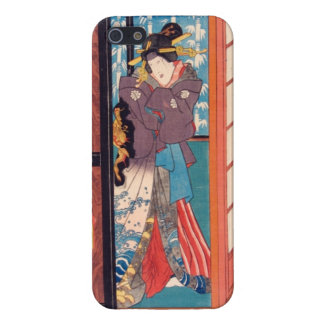 Vintage Japanese Woodblock Woman at Door Cover For iPhone 5/5S