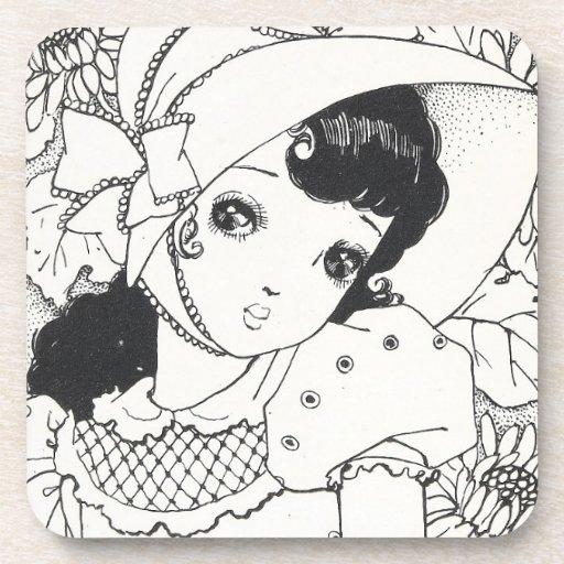 Vintage japaneses manga kawaii girl ink tattoo coasters