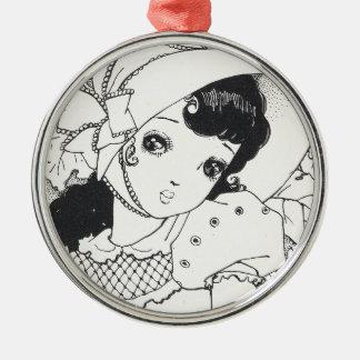 Vintage japaneses manga kawaii girl ink tattoo Silver-Colored round decoration