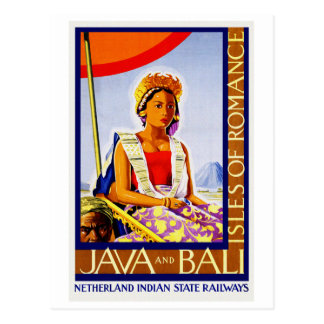 Vintage Java and Bali Indonesia by Railways Postcard