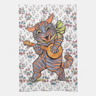 Vintage Jazzy Banjo Music Cat Kitchen Towel