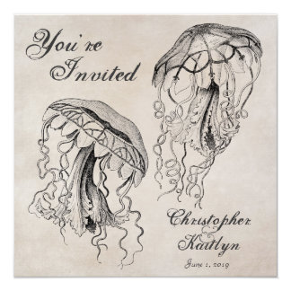 Vintage Jellyfish Beach Wedding Invitation