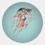 Vintage Jellyfish Round Sticker