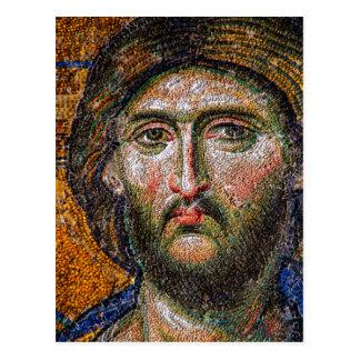 Vintage Jesus Christ Portrait Medieval Mosaic Postcard