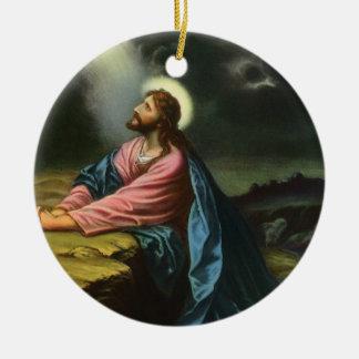 Vintage Jesus Christ Praying in Gethsemane Round Ceramic Decoration