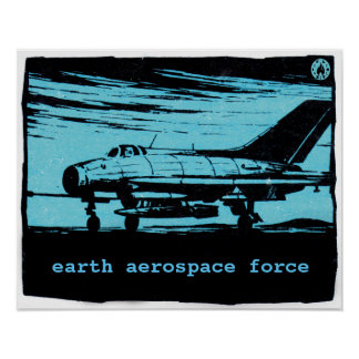 Vintage jet fighter - Earth Aerospace Force Poster