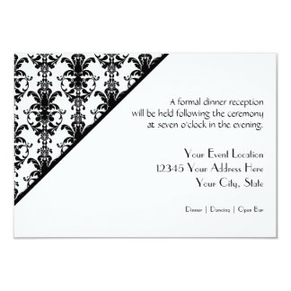 Vintage Jewel Buckle Black White Damask Reception Custom Invitations