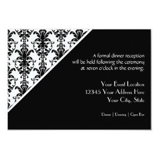 Vintage Jewel Buckle Black White Damask Reception Invitations