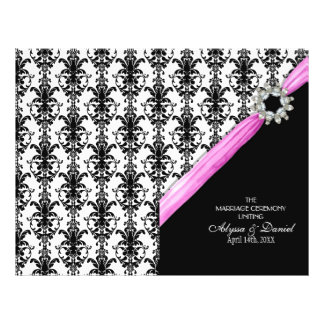 Vintage Jewel Buckle Black White Damask Ribbon 21.5 Cm X 28 Cm Flyer