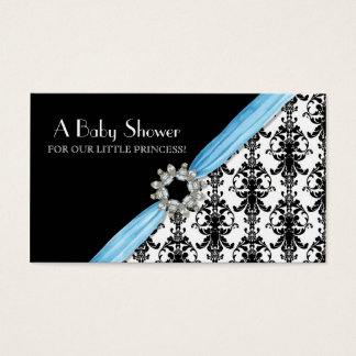 Vintage Jewel Buckle Black White Damask Ribbon Business Card
