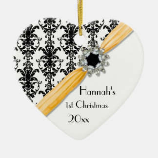 Vintage Jewel Buckle Black White Damask Ribbon Ceramic Heart Decoration
