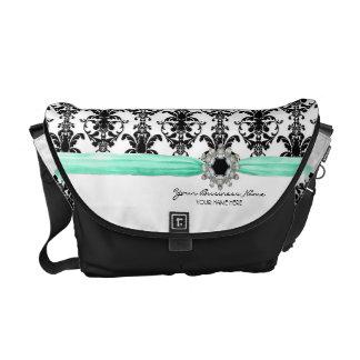 Vintage Jewel Buckle Black White Damask Ribbon Commuter Bag