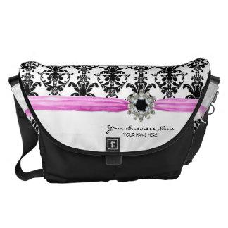 Vintage Jewel Buckle Black White Damask Ribbon Commuter Bags