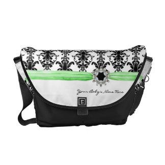 Vintage Jewel Buckle Black White Damask Ribbon Courier Bag