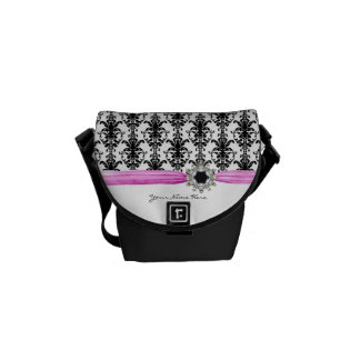 Vintage Jewel Buckle Black White Damask Ribbon Courier Bags