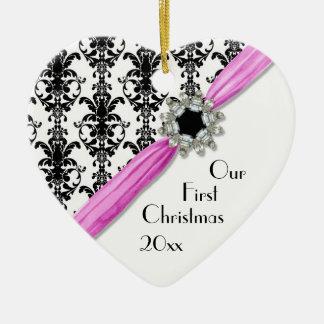 Vintage Jewel Buckle Black White Damask Ribbon Christmas Ornaments