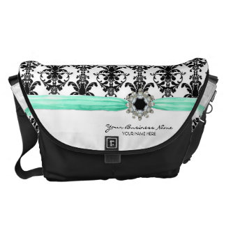 Vintage Jewel Buckle Black White Damask Ribbon Messenger Bag