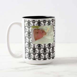 Vintage Jewel Buckle Black White Damask Ribbon Two-Tone Mug