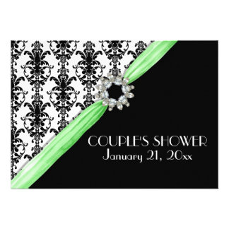 Vintage Jewel Buckle Black White Damask Save Date Personalized Announcements