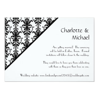 Vintage Jewel Buckle Black White Damask Save Date Personalized Announcement