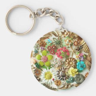 Vintage Jewels Floral Keychain