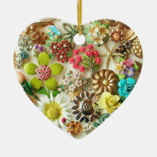 Vintage Jewels Heart Christmas Ornament