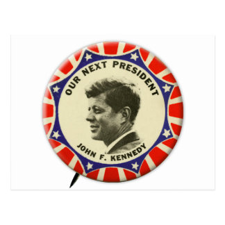 Vintage JFK John Kennedy Button Our Next President Post Card