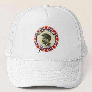 Vintage JFK John Kennedy Button Our Next President Trucker Hat