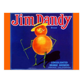 Vintage Jim Dandy Anthropomorphic Orange Postcards