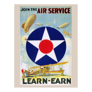 Vintage Join The Air Service Learn-Earn Postcard