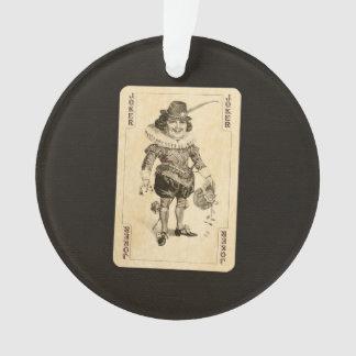 Vintage Joker Playing Card on Black Burlap Like