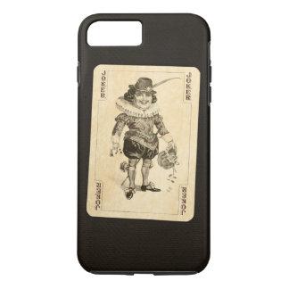 Vintage Joker Playing Card on Black Burlap Like iPhone 7 Plus Case