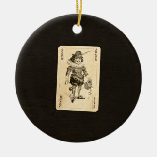 Vintage Joker Playing Card on Black Burlap Like Round Ceramic Decoration