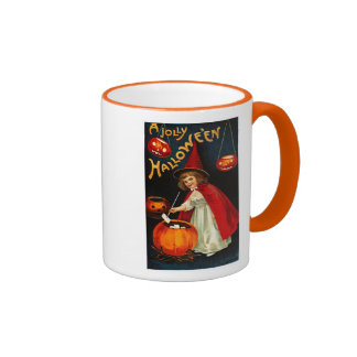 Vintage Jolly Halloween Red Witch Ringer Coffee Mug