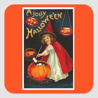 Vintage Jolly Halloween Red Witch Square Sticker