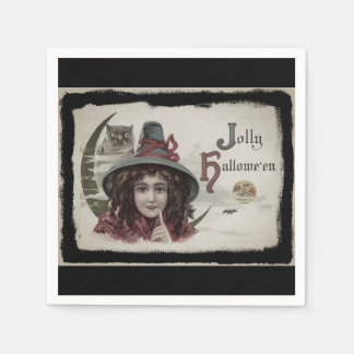 Vintage Jolly Halloween Witch Disposable Napkin