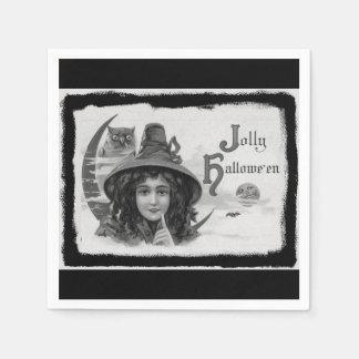 Vintage Jolly Halloween Witch Disposable Serviettes