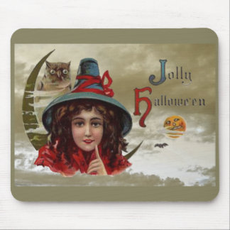 Vintage Jolly Halloween Witch Mouse Pad