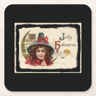Vintage Jolly Halloween Witch Square Paper Coaster
