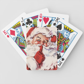Vintage Jolly Old Santa Shhh Bicycle Playing Cards