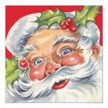 Vintage Jolly Retro Santa Claus Christmas Party 13 Cm X 13 Cm Square Invitation Card